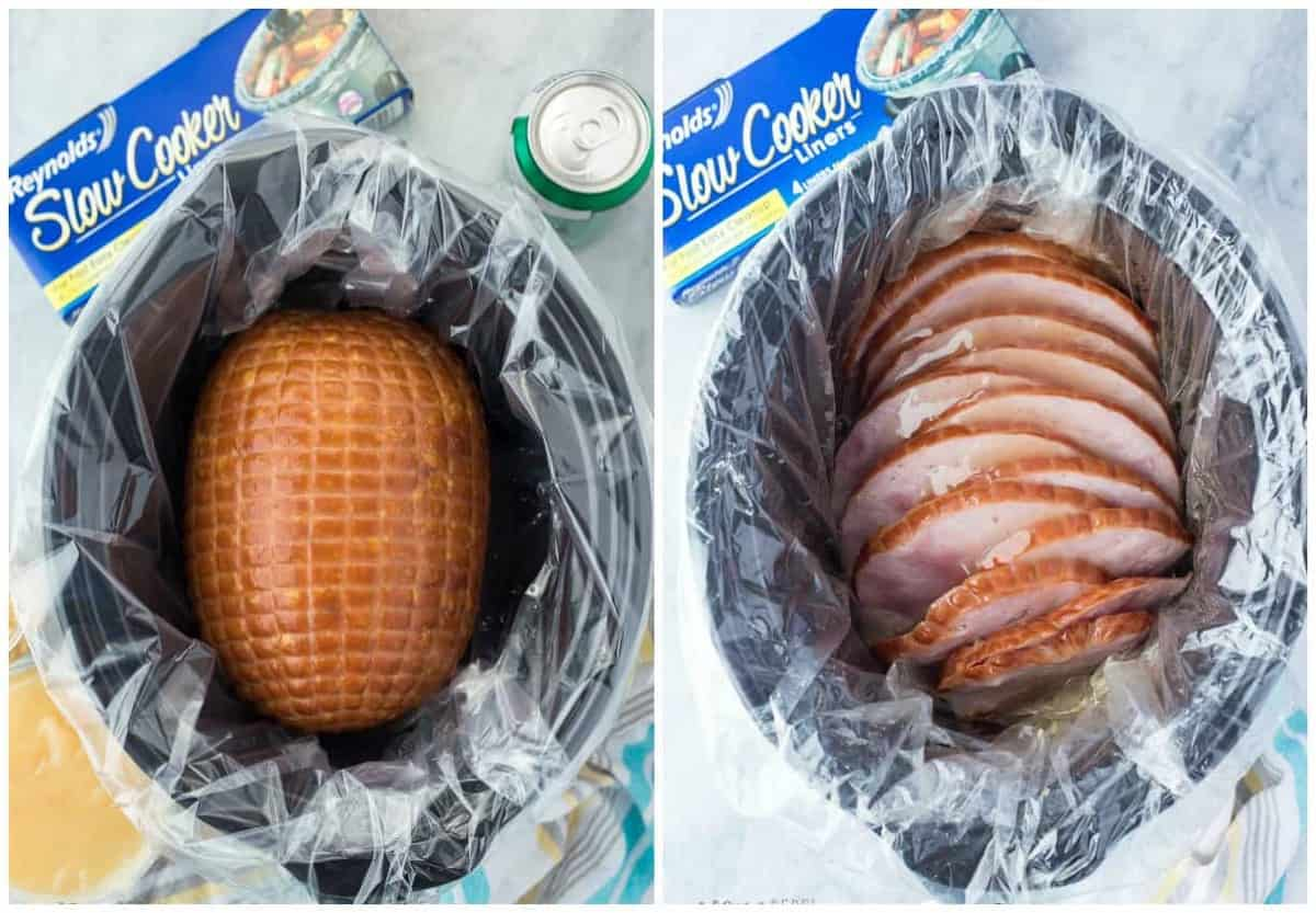 whole ham and sliced ham in slow cooker with slow cooker liner