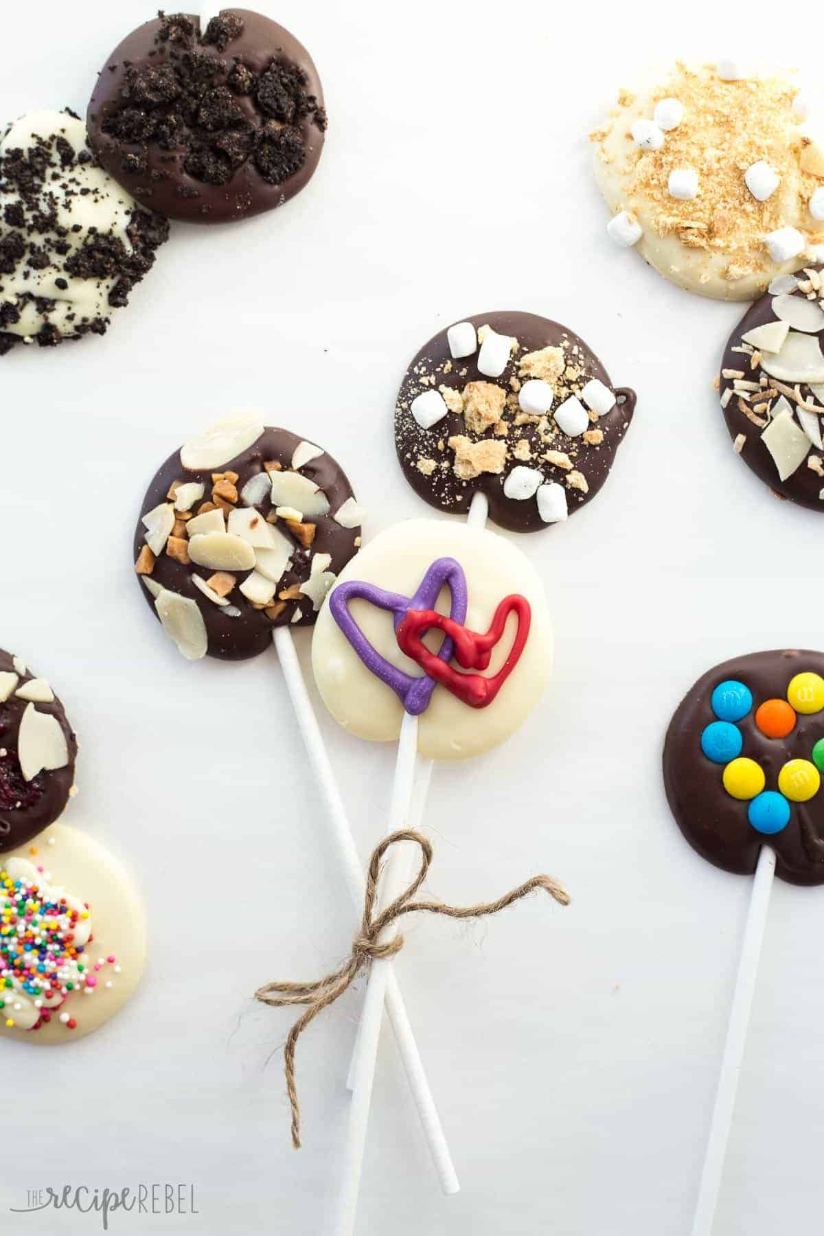 These Valentine's Day Chocolate Lollipops are an easy treat to make and attach to those valentine's -- and so easy to customize the design and toppings to your taste!