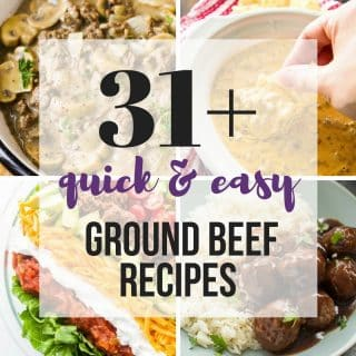 Quick Ground Beef Recipes that are easy and perfect for busy weeknights! Including slow cooker recipes, one pot dishes and make ahead meals -- perfect healthy dinner ideas that are family-friendly! My kids LOVE these :)