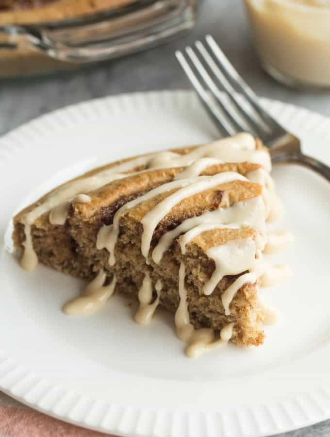 Healthier Cinnamon Roll Baked Pancake with Maple Cream Cheese Syrup