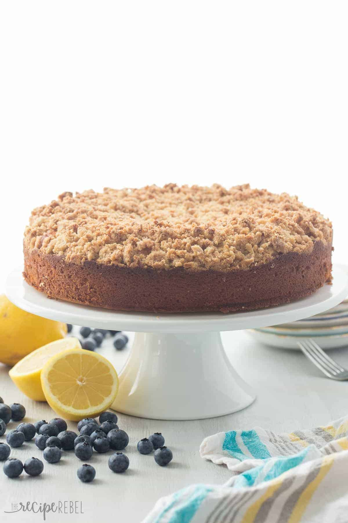 This Lemon Blueberry Cream Cheese Coffee Cake is a soft, moist lemon ...