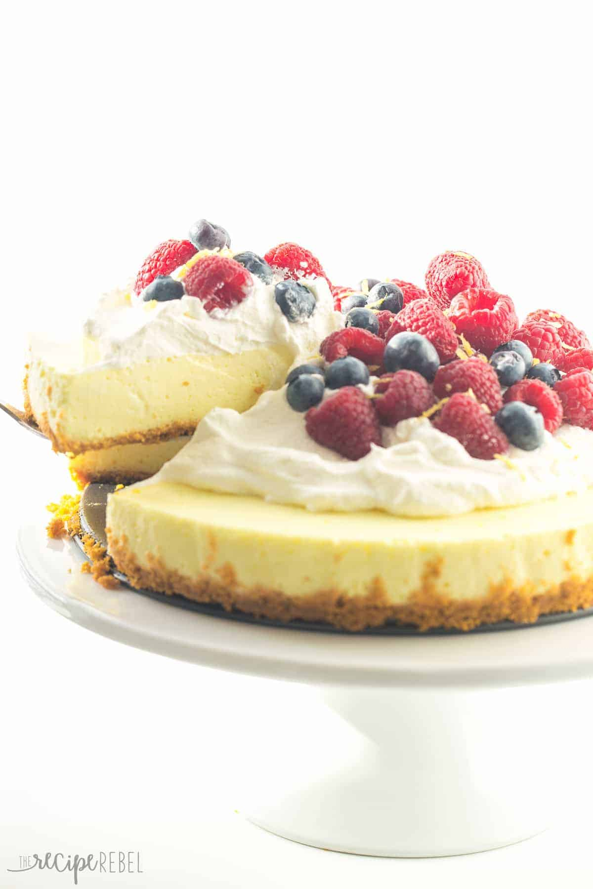 A light, luscious, no bake Lemon Cheesecake with a secret ingredient that makes it even healthier! Top with whipped cream and fresh berries for the perfect Spring or Easter dessert.