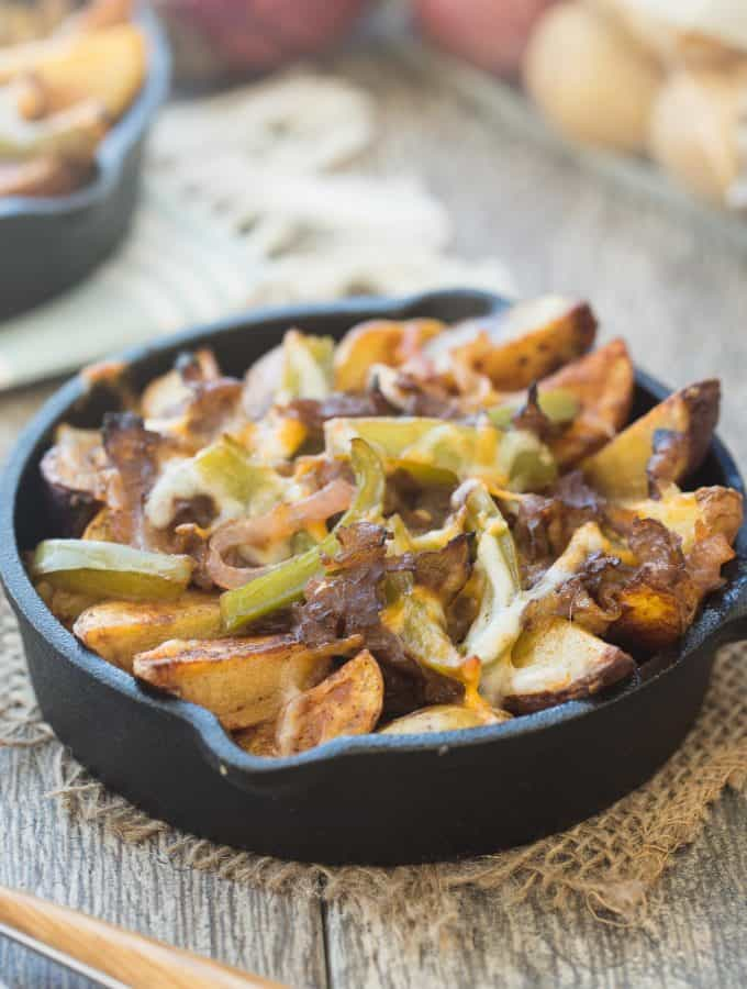Skillet Philly Cheesesteak Potato Wedges and a GIVEAWAY!