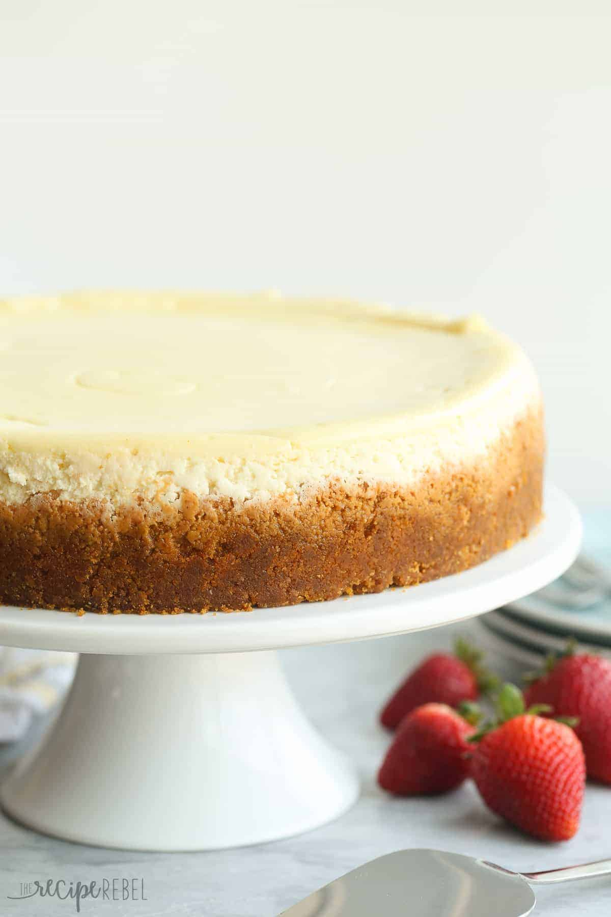 This Vanilla Cheesecake is super creamy and not as heavy as traditional baked cheesecake thanks to a good dose of sour cream -- it's soft and luscious and perfect with fresh berries!