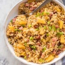 ham and pineapple rice overhead