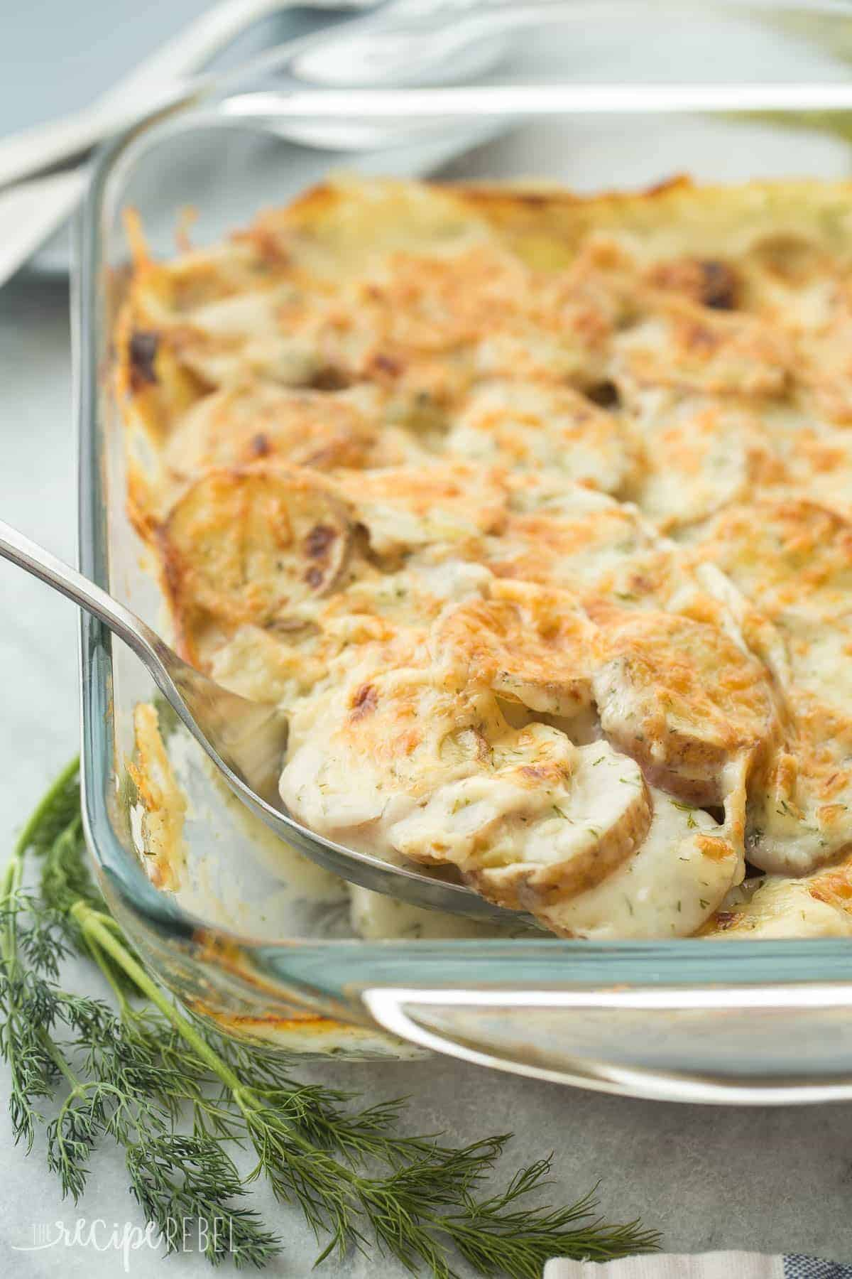 These Light Creamy Dill Scalloped Potatoes have a fraction of the fat as regular scalloped potatoes but you'd never know! Not a fan of dill? Substitute herbs of your choice!