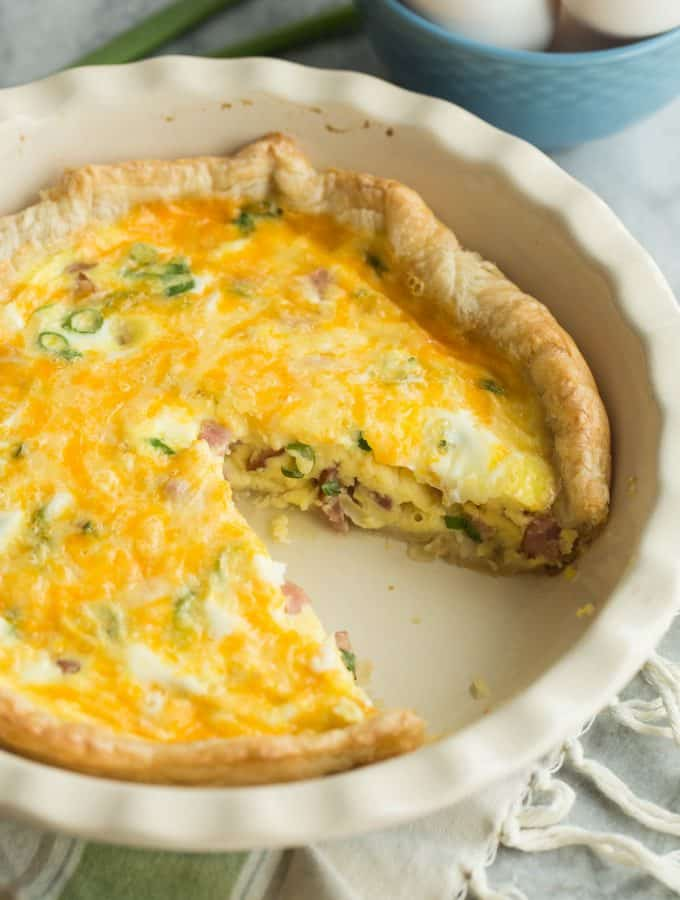 Easy Puff Pastry Ham and Cheese Quiche