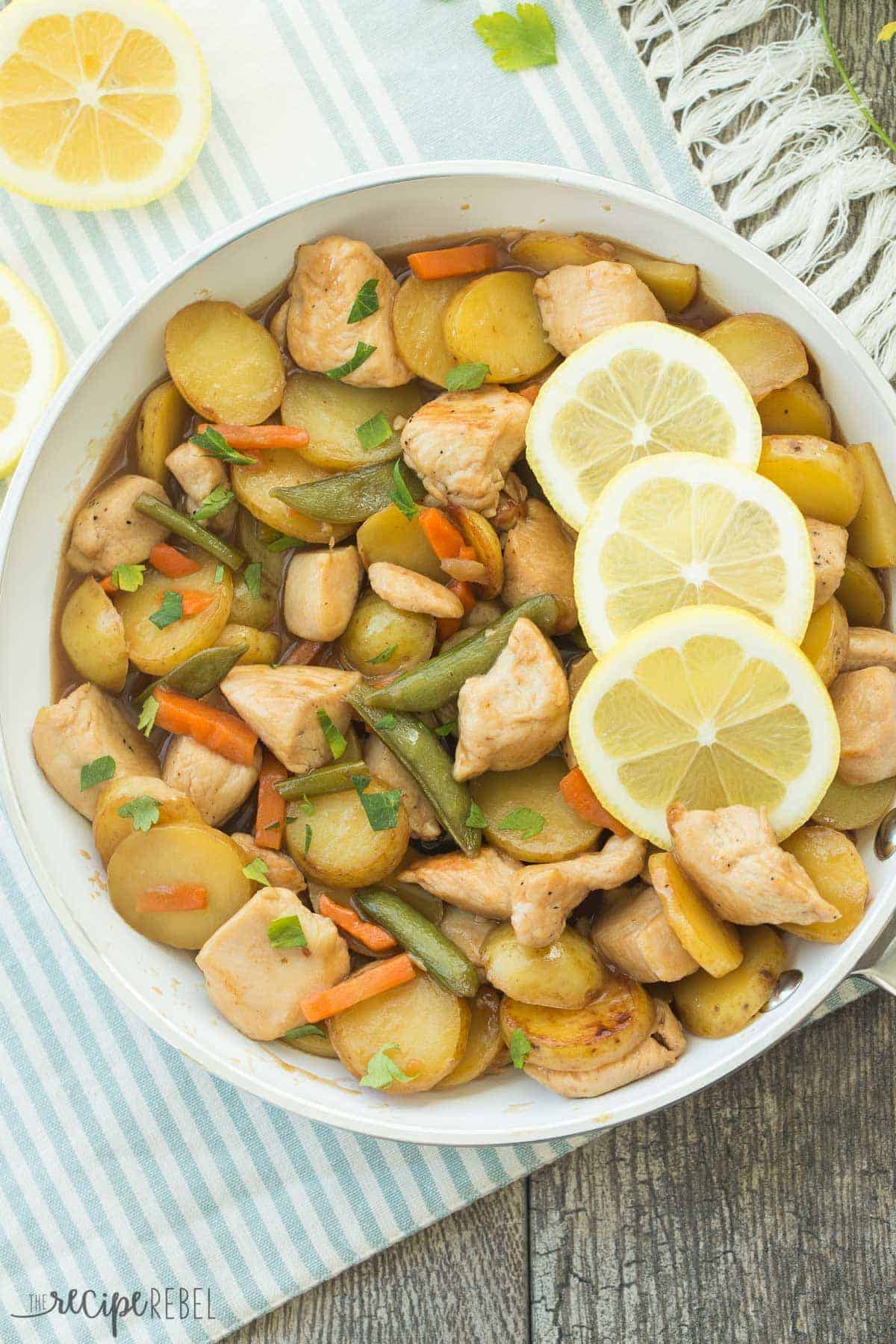 30 Minute Honey Lemon Chicken and Potato Skillet