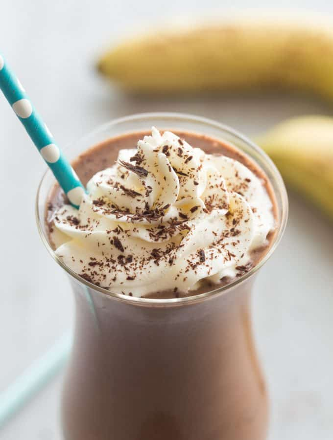 This Healthy Chocolate Peanut Butter Milkshake is full of good-for-you ingredients but tastes totally decadent! The perfect sweet summer treat with a Chunky Monkey twist :)
