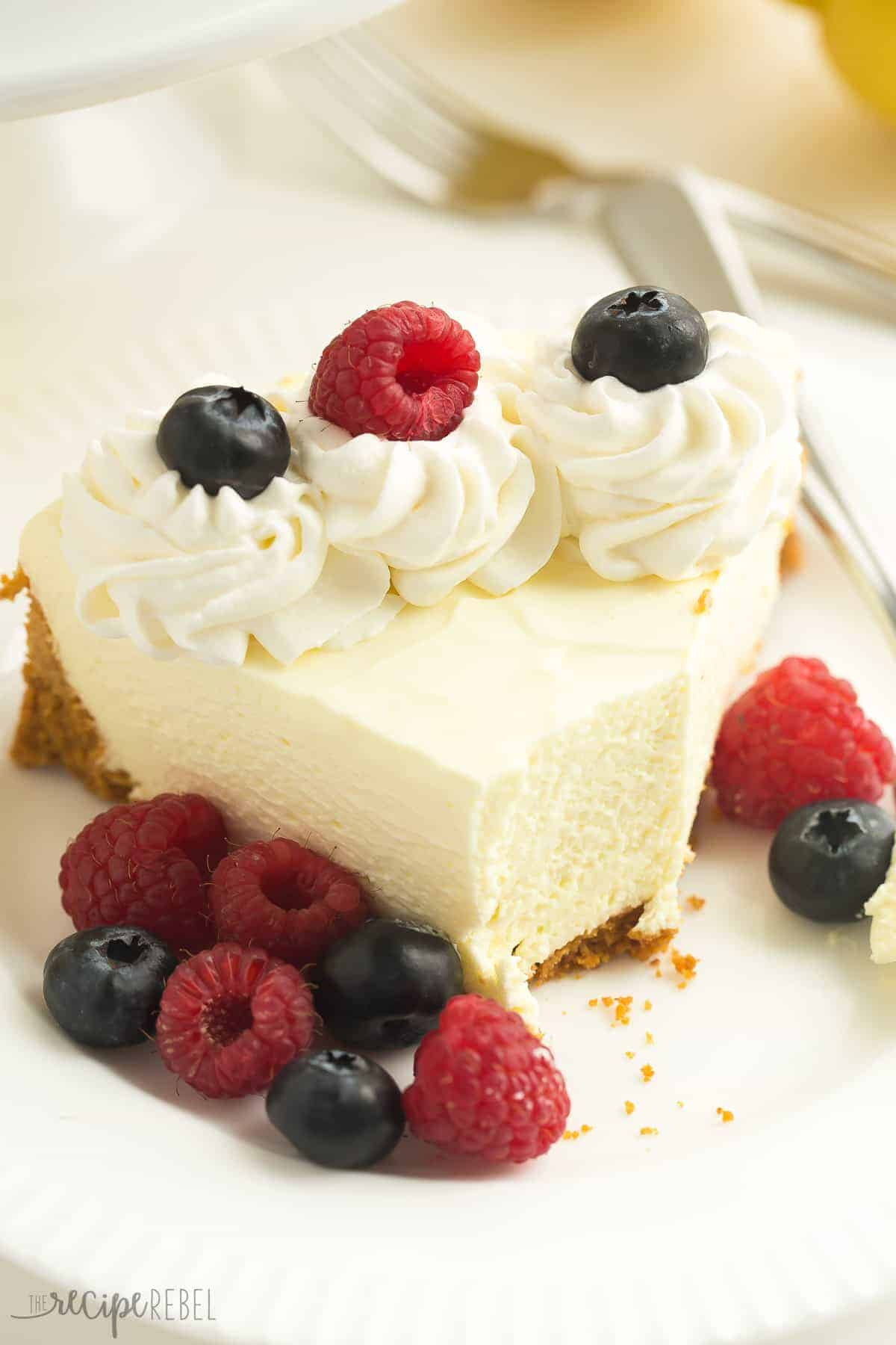 This is THE BEST No Bake Lemon Cheesecake! It's firm enough to stand up to being cut and is even great frozen! thereciperebel.com