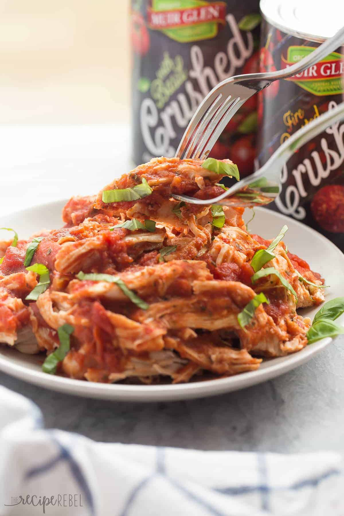 A SUPER simple, flavorful meal with just a few ingredients! These Slow Cooker Italian Chicken Sandwiches are perfect for picnics or weeknights! Gluten free and paleo options.