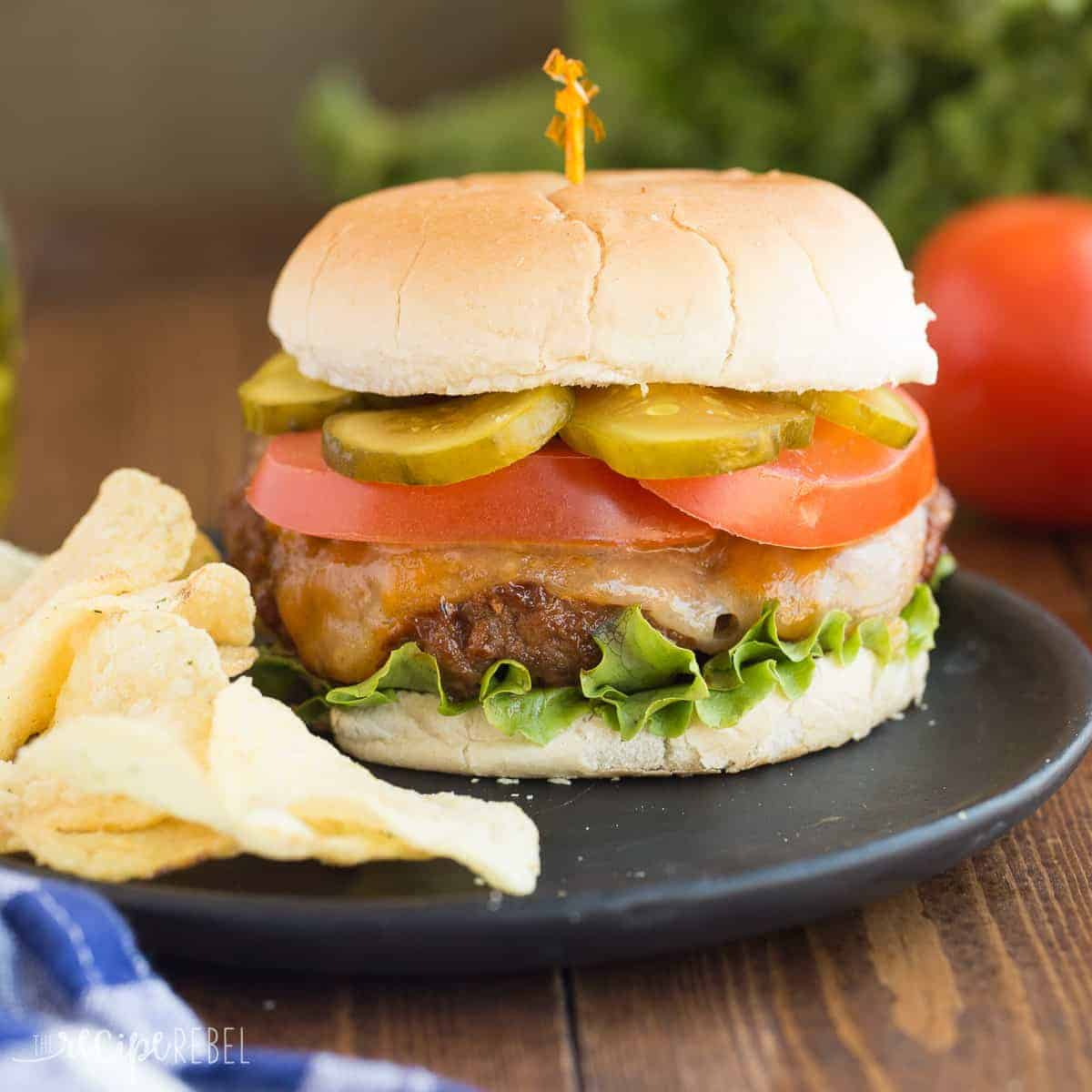 These are the BEST Burgers! Made with a mix of ground beef and ground pork, caramelized onions, balsamic vinegar, chili powder and MORE that makes them so much more flavorful than other burgers!