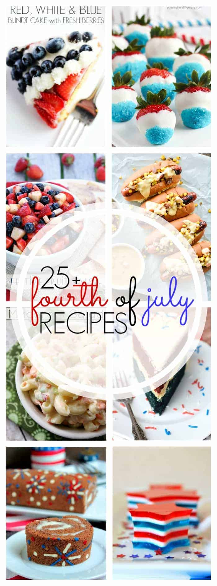 25+ recipes for July 4 and Canada Day! Desserts, drinks, sides, salads and main dishes!