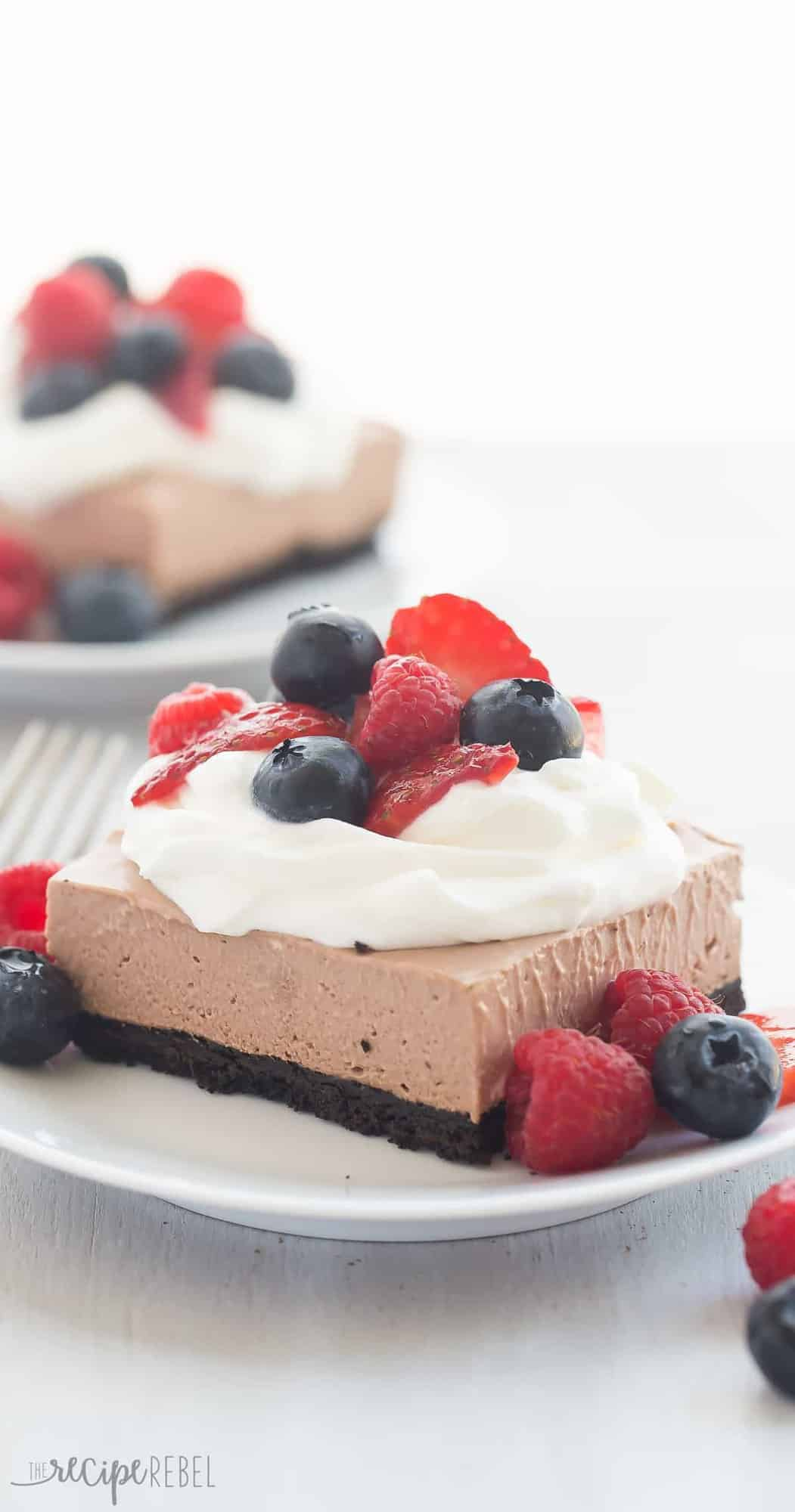 These No Bake Chocolate Nutella Cheesecake Bars are SO easy and perfect for topping with fresh berries! Rich, creamy and no oven required! thereciperebel.com