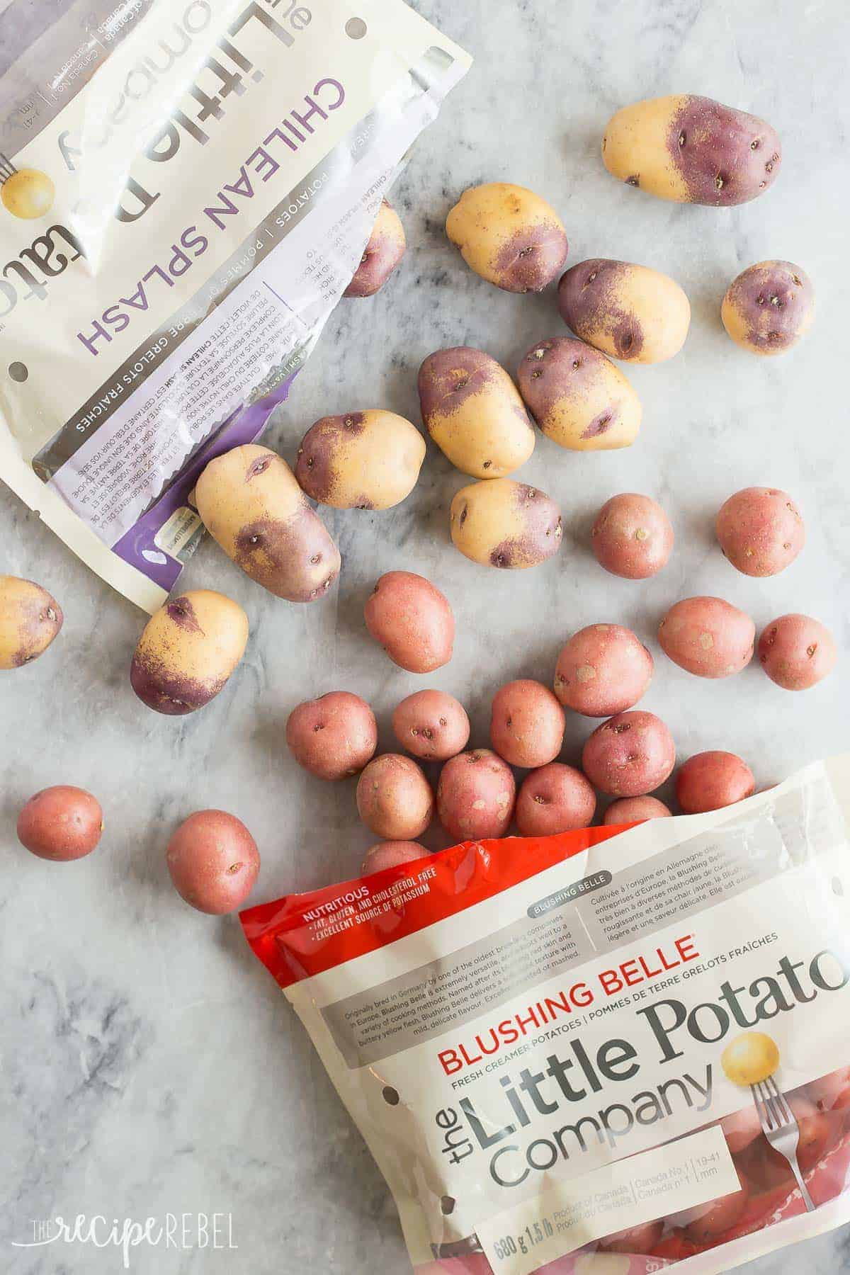 blushing belle and purple little potatoes spilled out on marble background