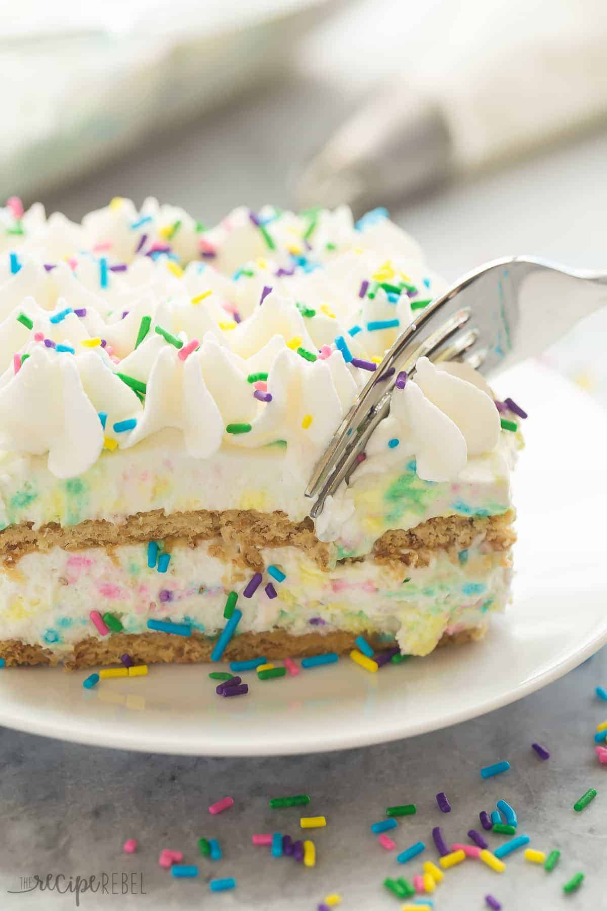 An easy, no bake icebox cake loaded with funfetti flavor! Only 10 MINUTES prep time and full of homemade cake batter flavor.