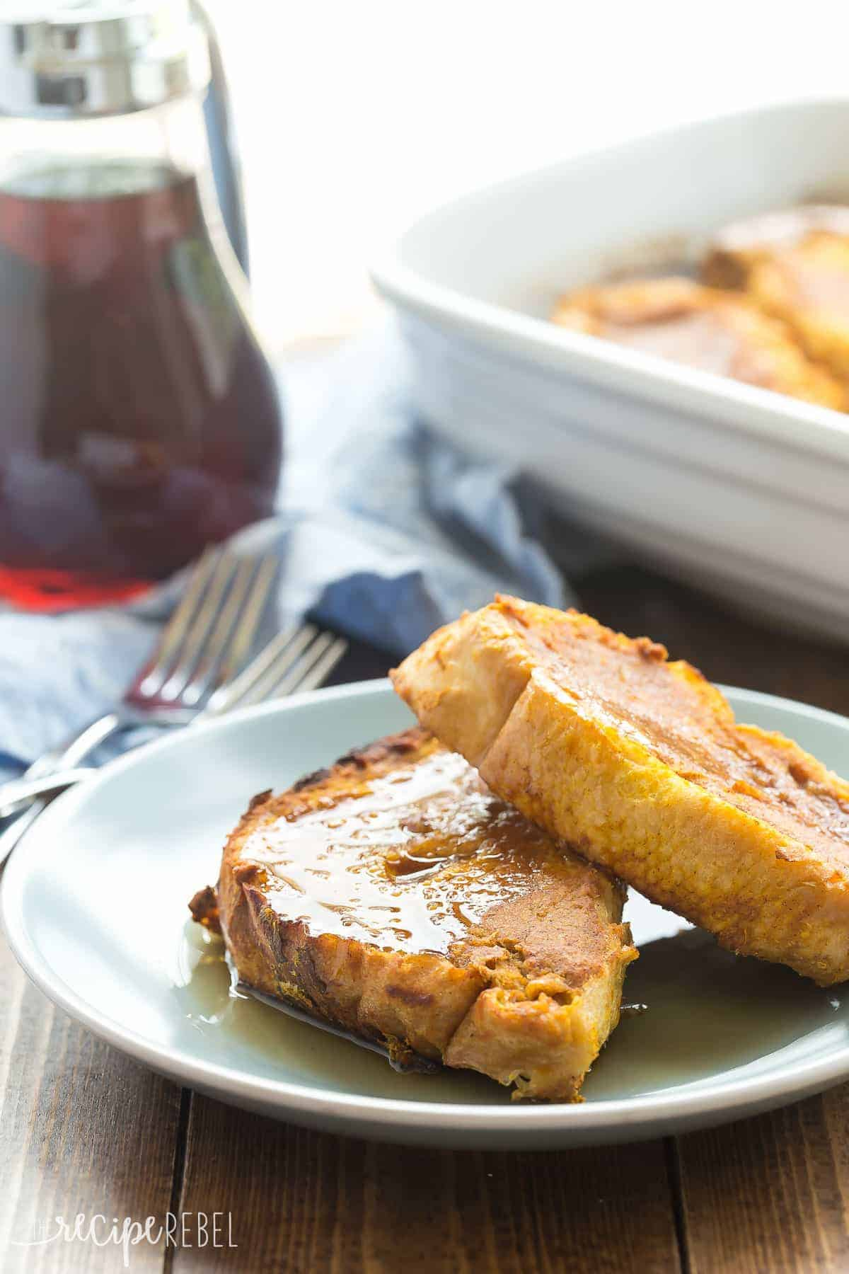 THIS is the fall breakfast you need! This Overnight Pumpkin French Toast is so easy -- you can make ahead for holiday gatherings and brunches and bake together in one pan! Naturally sweetened and made with real ingredients.