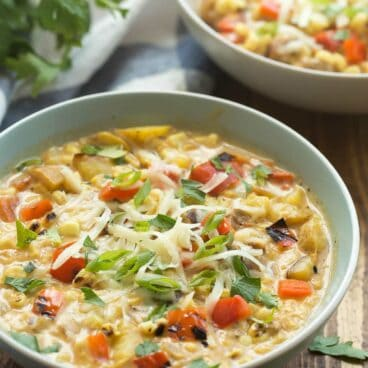 This Southwestern Potato and Corn Chowder is simple to make with leftover grilled vegetables, or start with fresh from scratch! It's loaded with potatoes, corn, peppers, and tons of Southwest flavor!