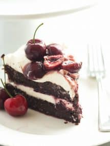This Black Forest Cake is SO EASY and naturally gluten free -- and no gluten lover would ever know the difference! Chocolate Cake is layered with real whipped cream and homemade cherry sauce!