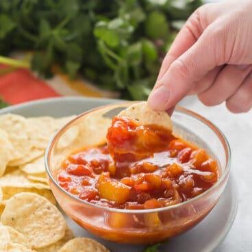 mango salsa on chip