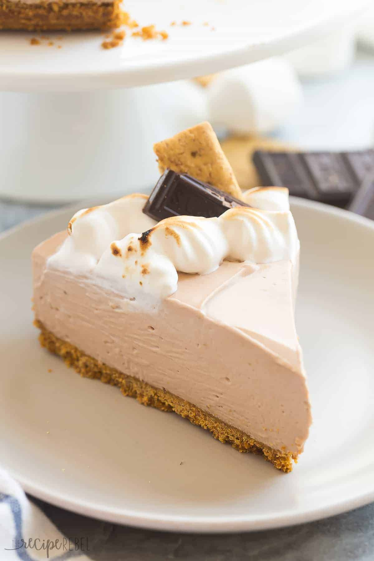 This No Bake S'mores Cheesecake is one of THE BEST cheesecakes I've ever made! A smooth chocolate marshmallow cheesecake on a graham cracker crust, topped with toasted homemade marshmallow cream! https://www.thereciperebel.com/no-bake-smores-cheesecake/