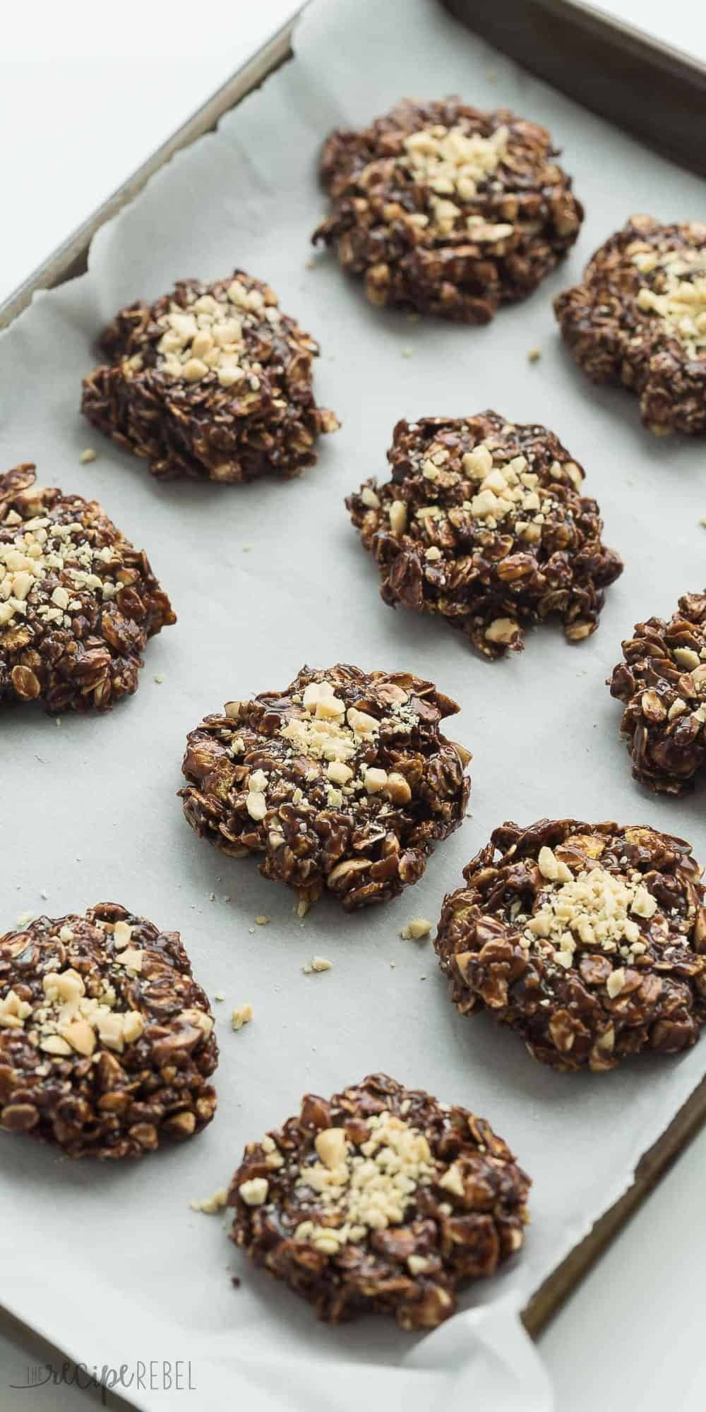 These Chocolate Peanut Butter No Bake Cookies are made better for you with no refined sugar, and a boost of protein from peanut butter, peanuts and oats! Just 10 minutes prep and easily made gluten-free.