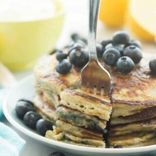 Lemon Blueberry Greek Yogurt Pancakes