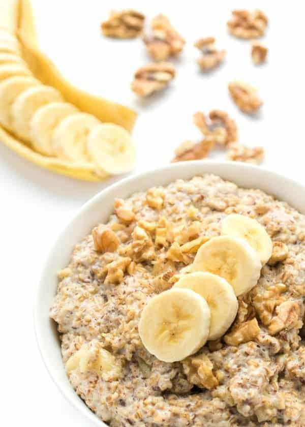 banana nut oatmeal in white bowl on white