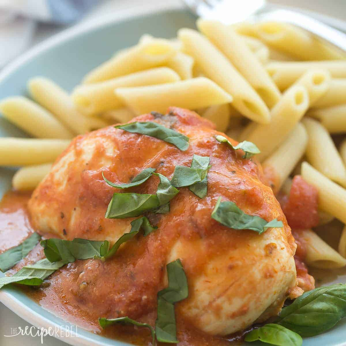This Slow Cooker Creamy Tomato Basil Chicken is SO easy and flavorful, you wouldn't believe it only has 5 ingredients! The perfect easy dinner recipe for busy weeknights!