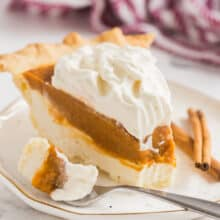cream cheese pumpkin pie white plate