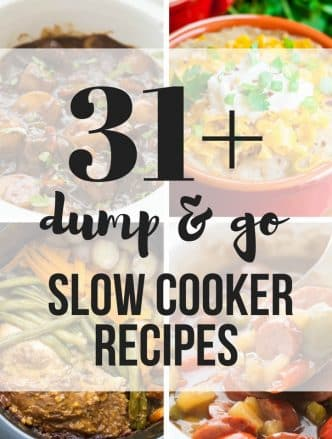 dump and go slow cooker recipes square collage with text