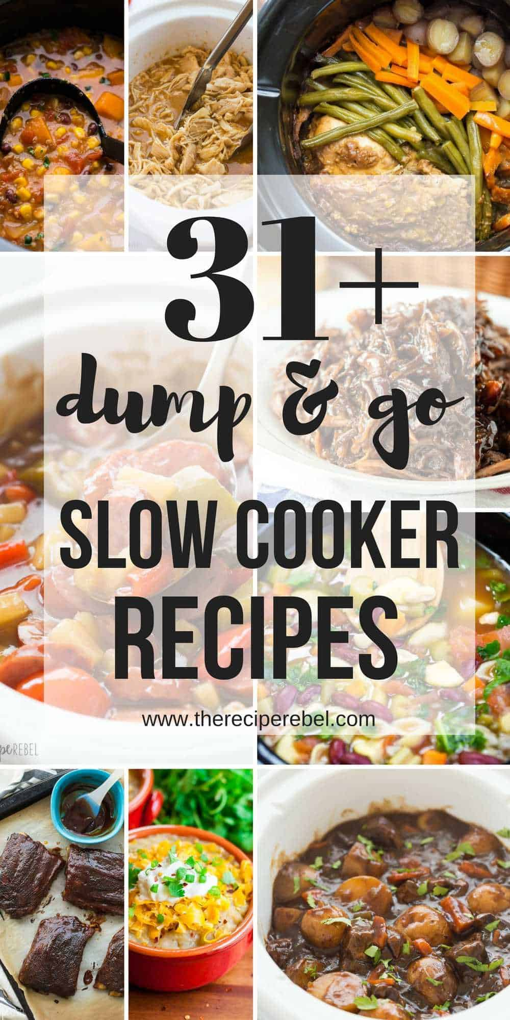 These Dump and Go Slow Cooker Recipes require no cooking or browning beforehand -- simply throw it in and walk away! Easy crock pot dump meals for busy weeknights and back to school! Chicken, beef, pork, or vegetarian -- there's something for everyone!