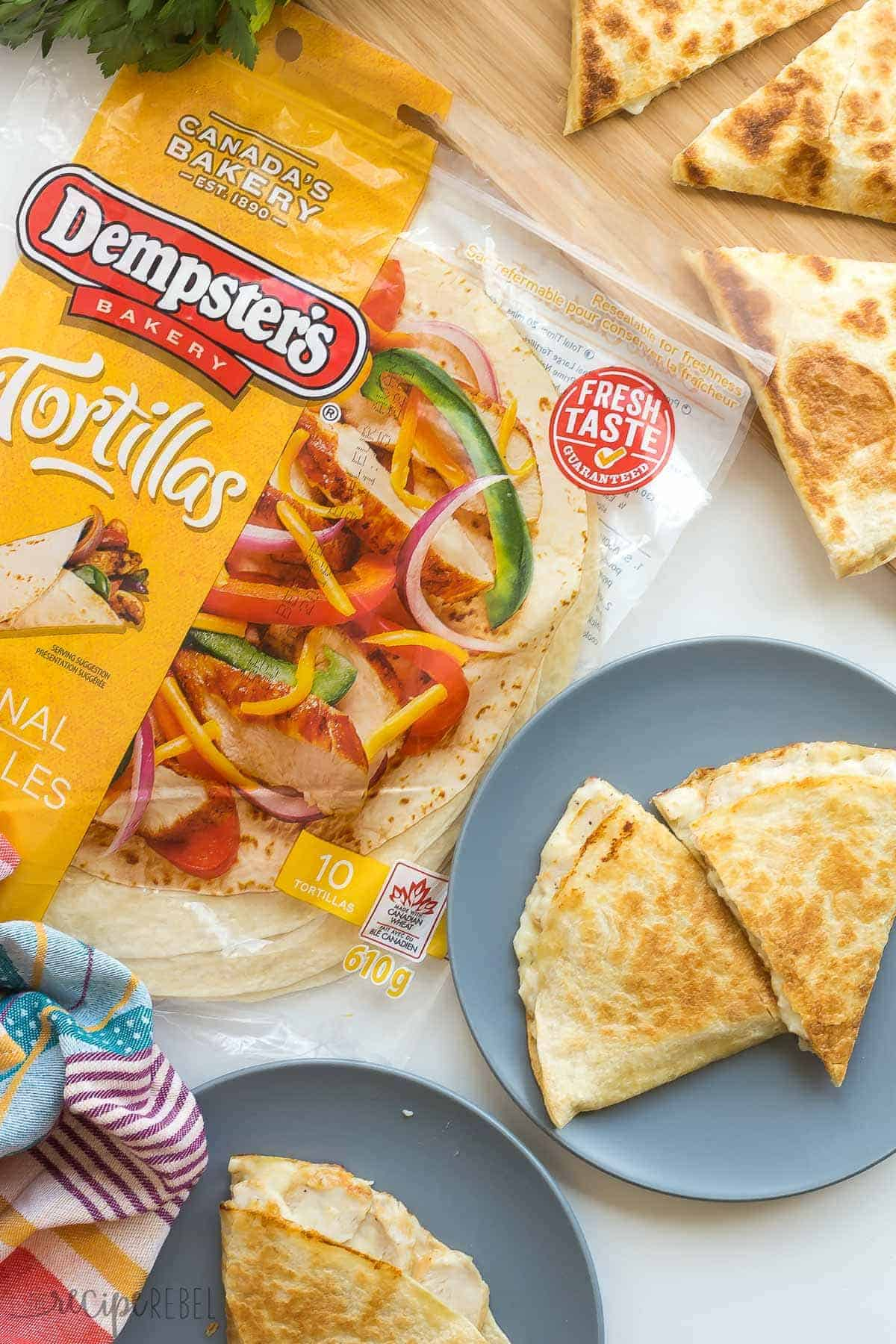 overhead image of chicken alfredo quesadillas with package of dempsters tortillas on the side