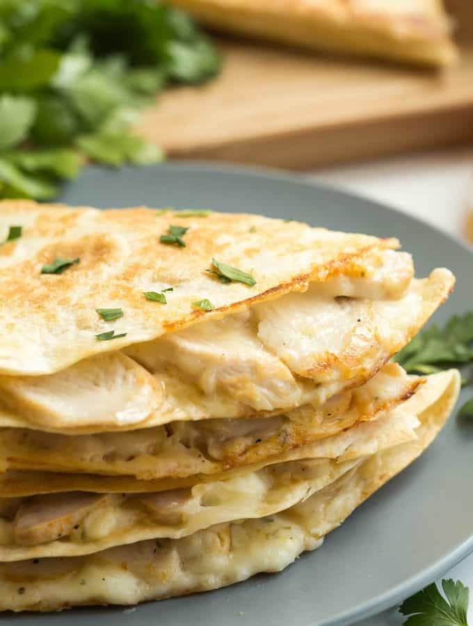 Chicken Alfredo Quesadillas