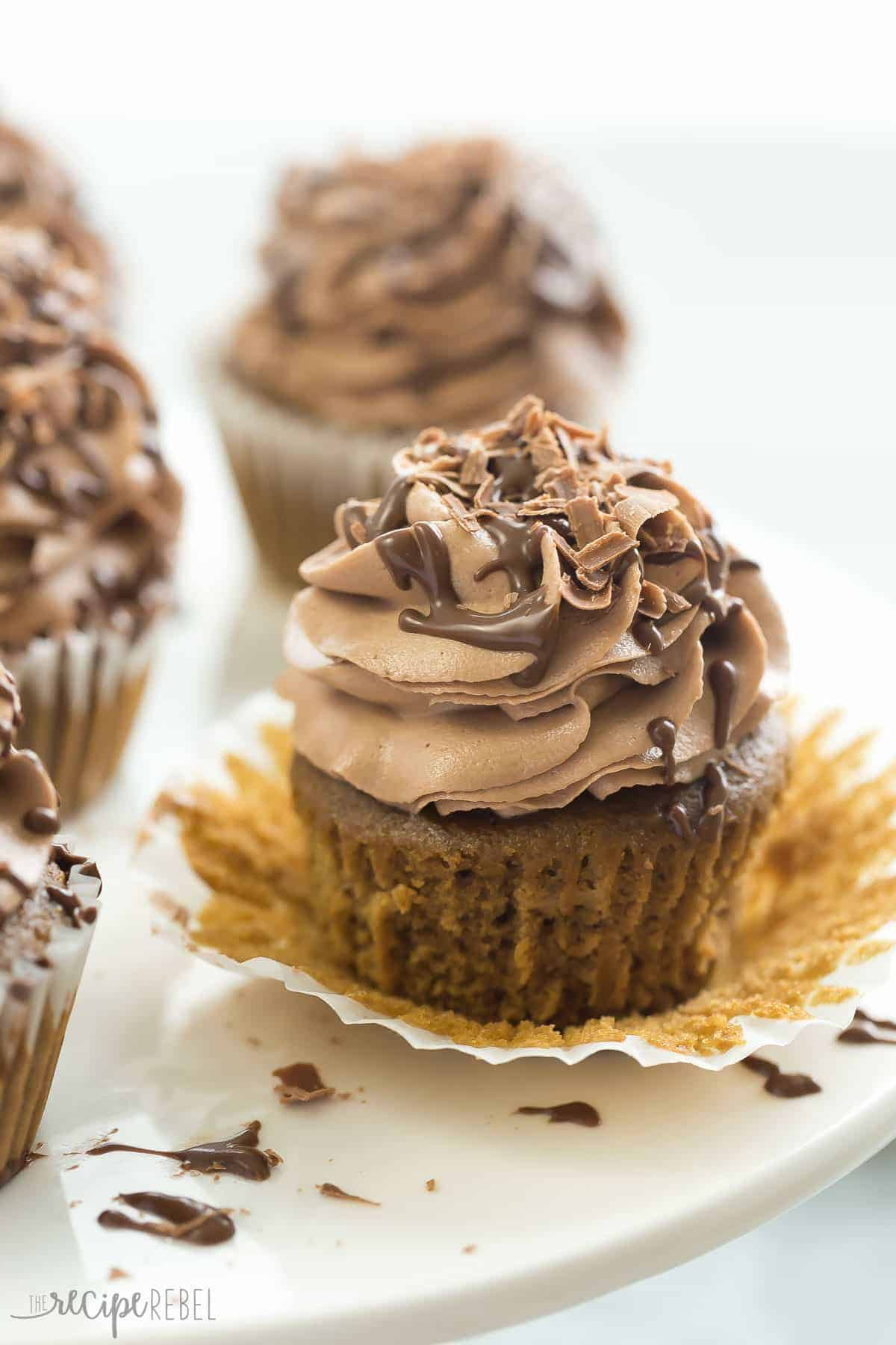 one mocha nutella cupcake on white plate unwrapped
