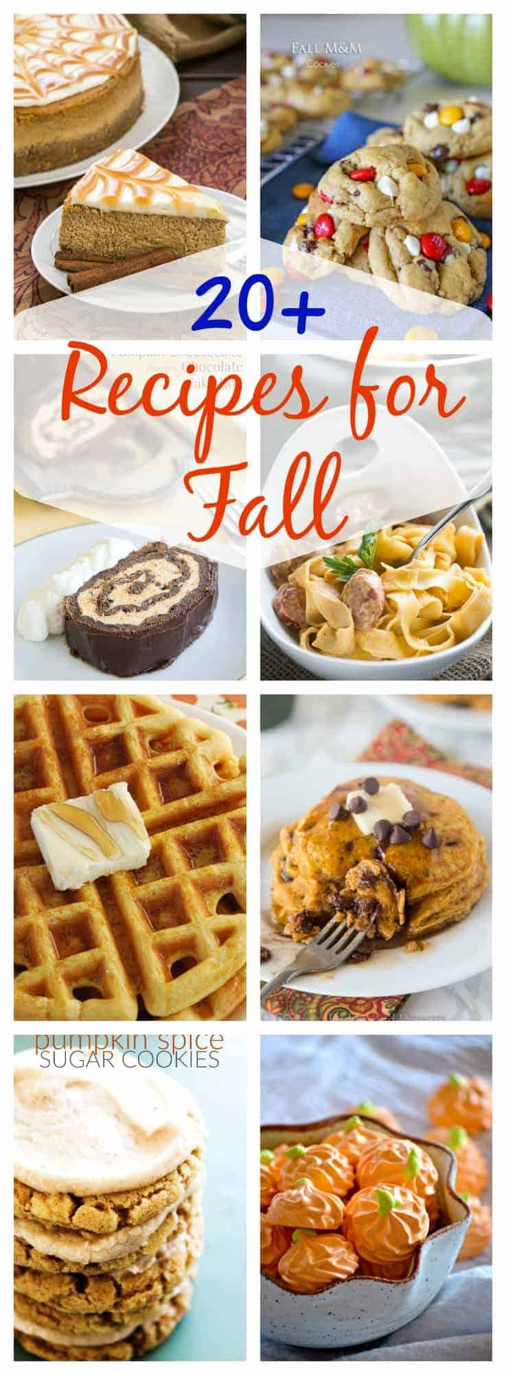 20+ Fall Recipes -- the desserts, breakfasts, soups and main dishes you need to make this fall! Pumpkin, apples, cranberries and more :)