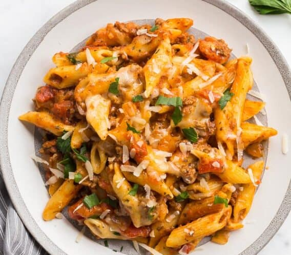 slow cooker baked ziti on plate
