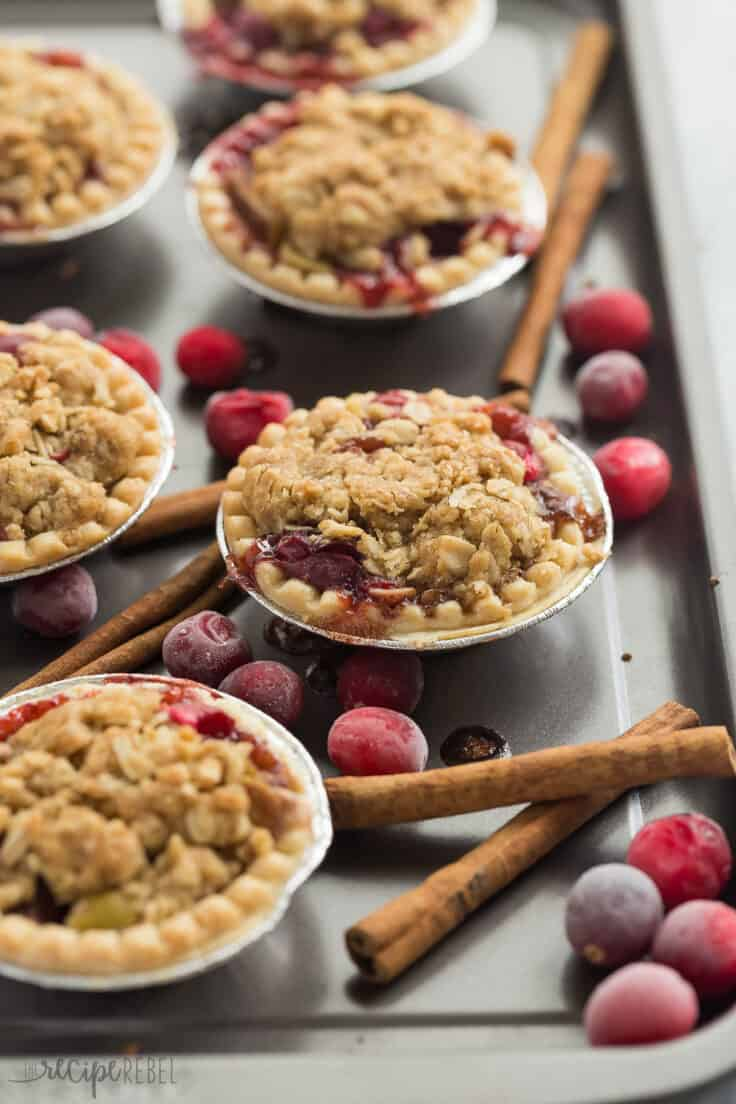 mini cider spiced cranberry apple pies with streusel in tart shells