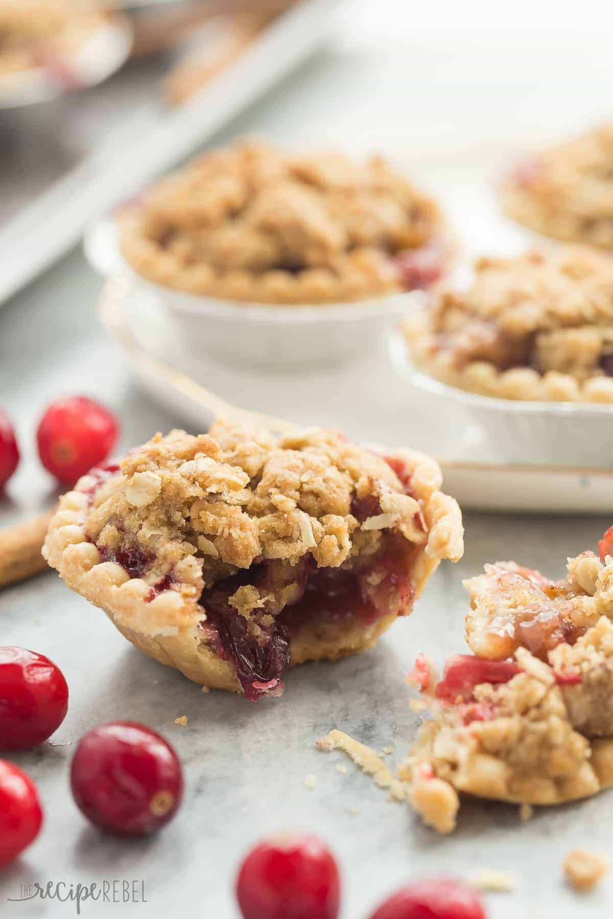 Cider Spiced Cranberry Apple Pie is so perfect for fall -- I make them in pre-made tart shells for an easy holiday dessert that will impress your guests!
