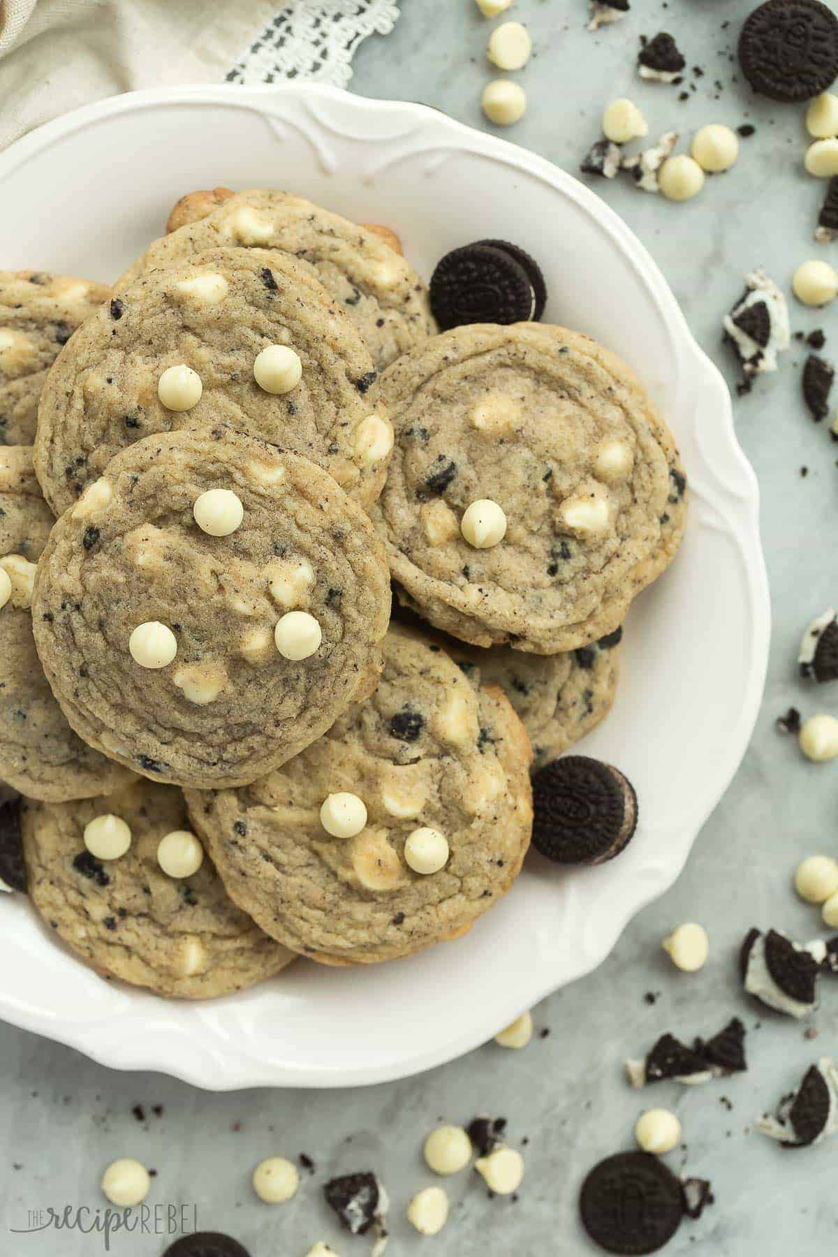 These Cookies 'n' Cream Cookies are loaded with chopped Oreos and white chocolate chips -- just like the chocolate bars! They are perfectly soft and chewy!