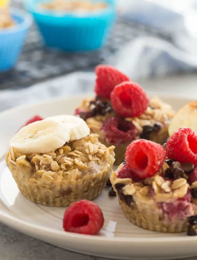 Easy 4 Ingredient Baked Oatmeal Cups + VIDEO