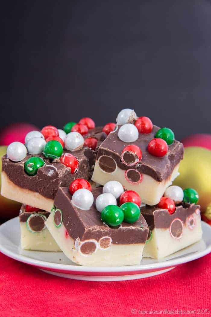 double chocolate christmas fudge with large christmas colored chocolate candies on top