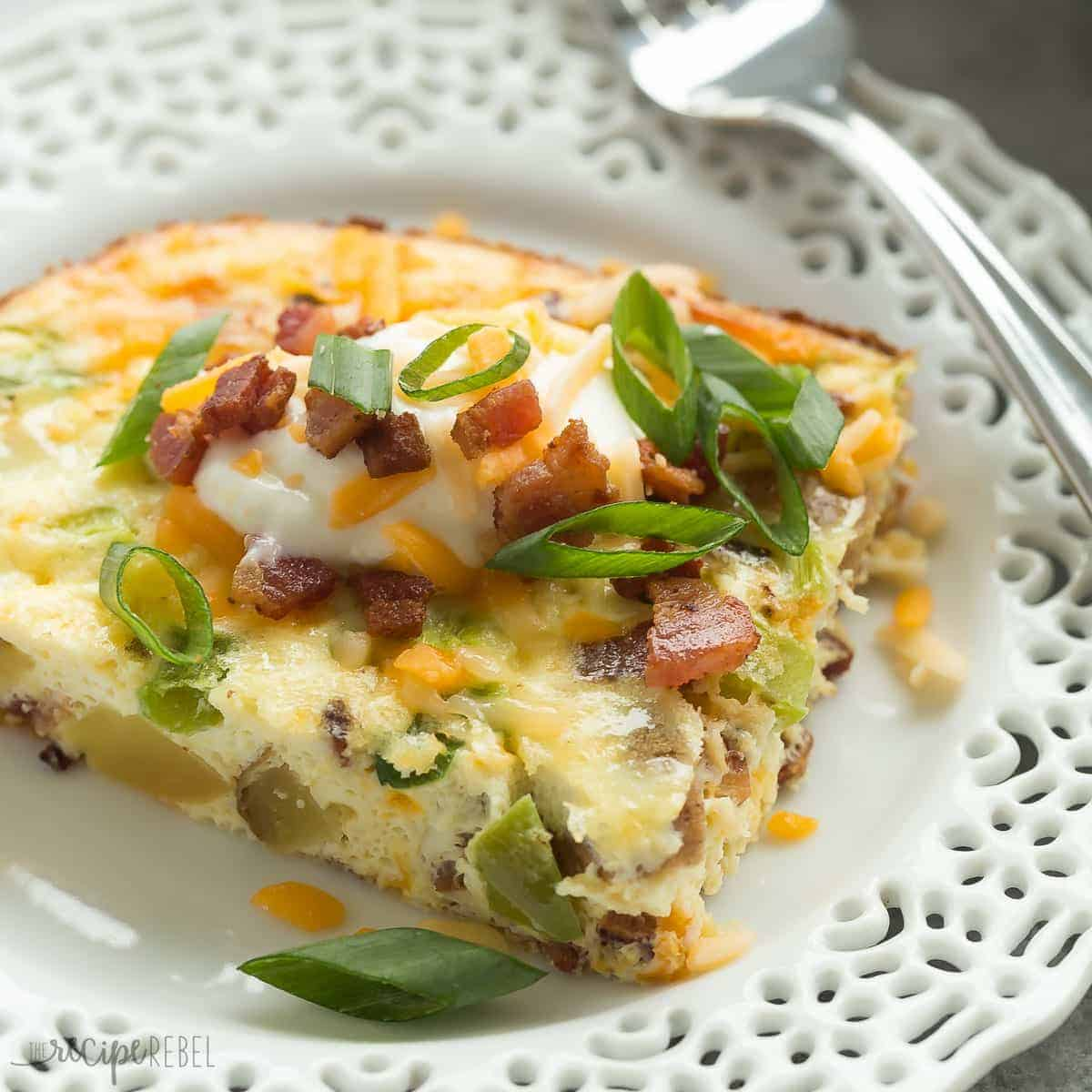 This Loaded Baked Potato Breakfast Casserole has all of your favorites: potatoes, bacon, eggs, sour cream, cheese, peppers and onions! It's easy to make ahead and is a great healthy breakfast option for the holidays!
