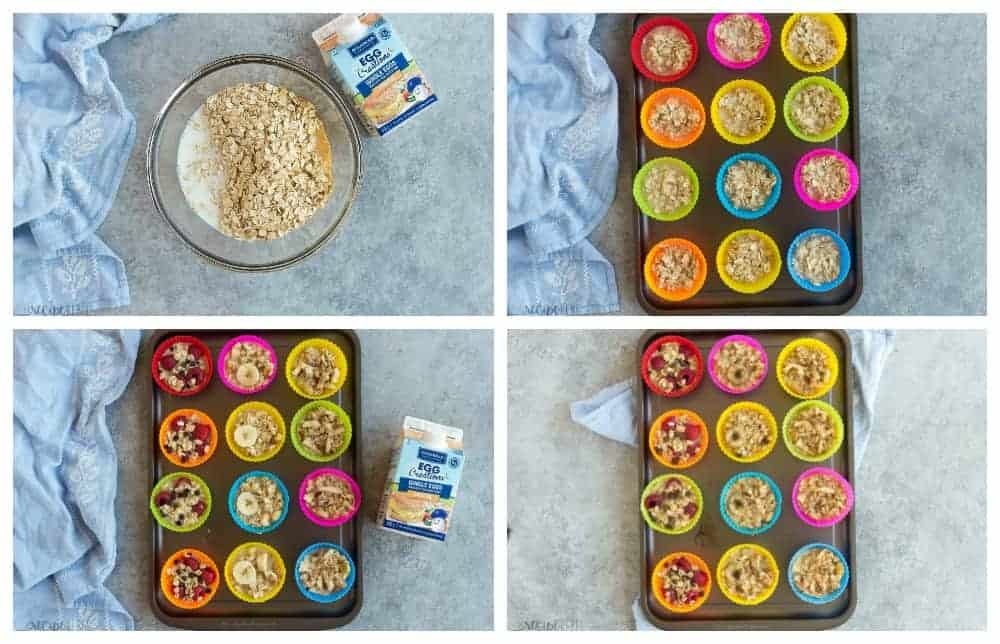 four ingredient oatmeal cup step by step photos with silicone muffin cups