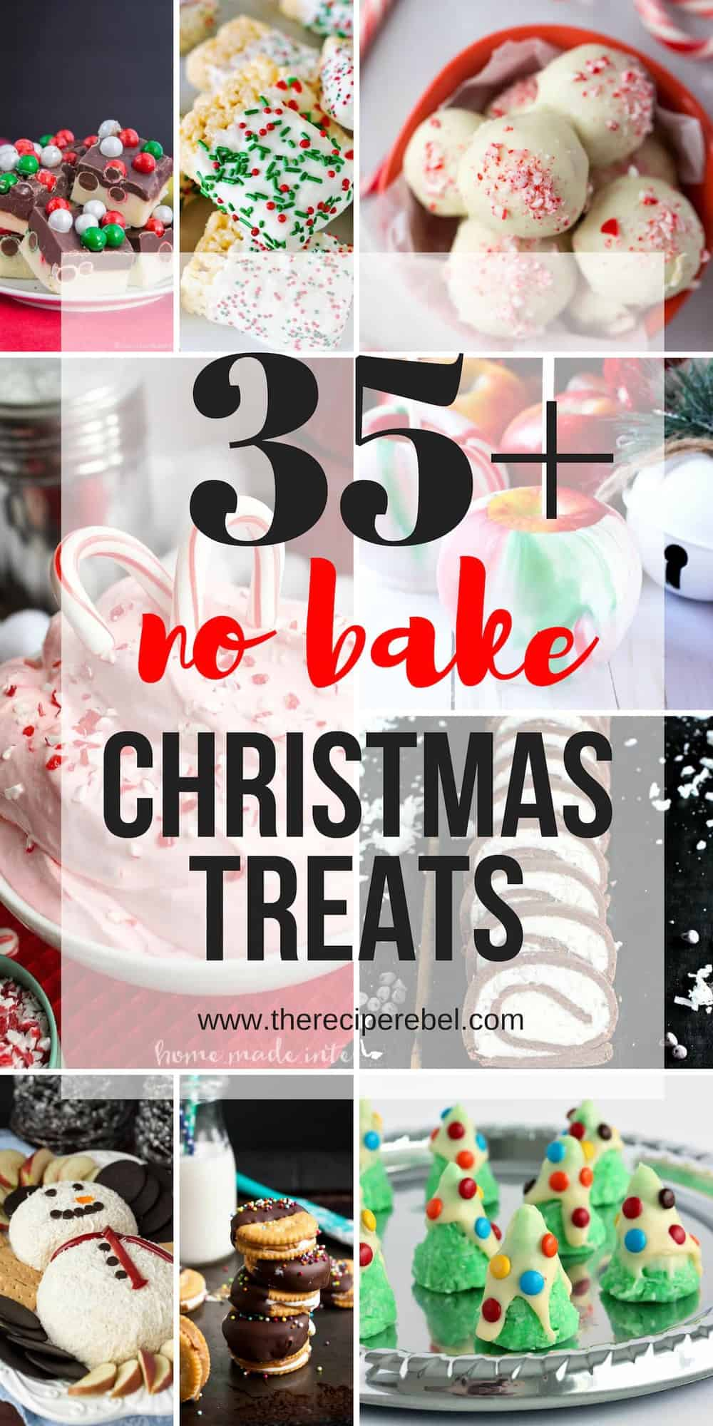 no bake easy christmas treats collage with multiple images and text