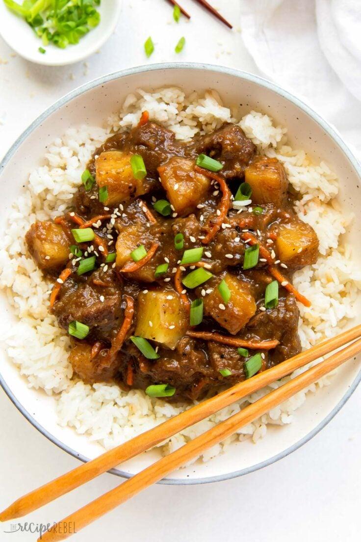 overhead image of slow cooker mongolian beef with pineapple on plate