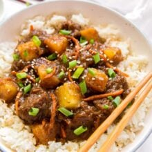 close up image of plate of mongolian beef on rice