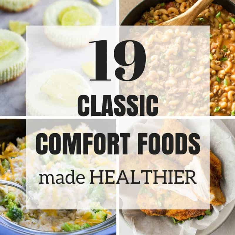These Classic Comfort Foods got a healthy makeover! They have lower fat, less calories or sneaky veggies, but you won't even notice and no one will be complaining! From fried chicken and lasagna to cheesecakes and cookies -- it's all here :)