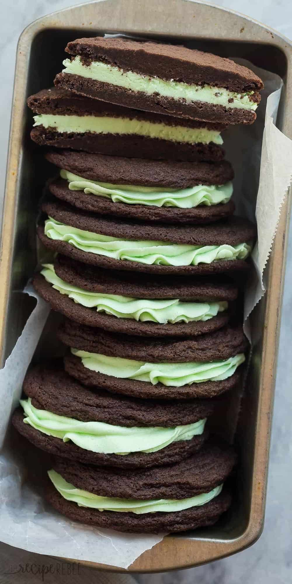 These Homemade Mint Chocolate Oreos have a homemade fudgy chocolate cookie and are filled with mint buttercream. They have the perfect cookie to frosting ratio for sandwich cookies!