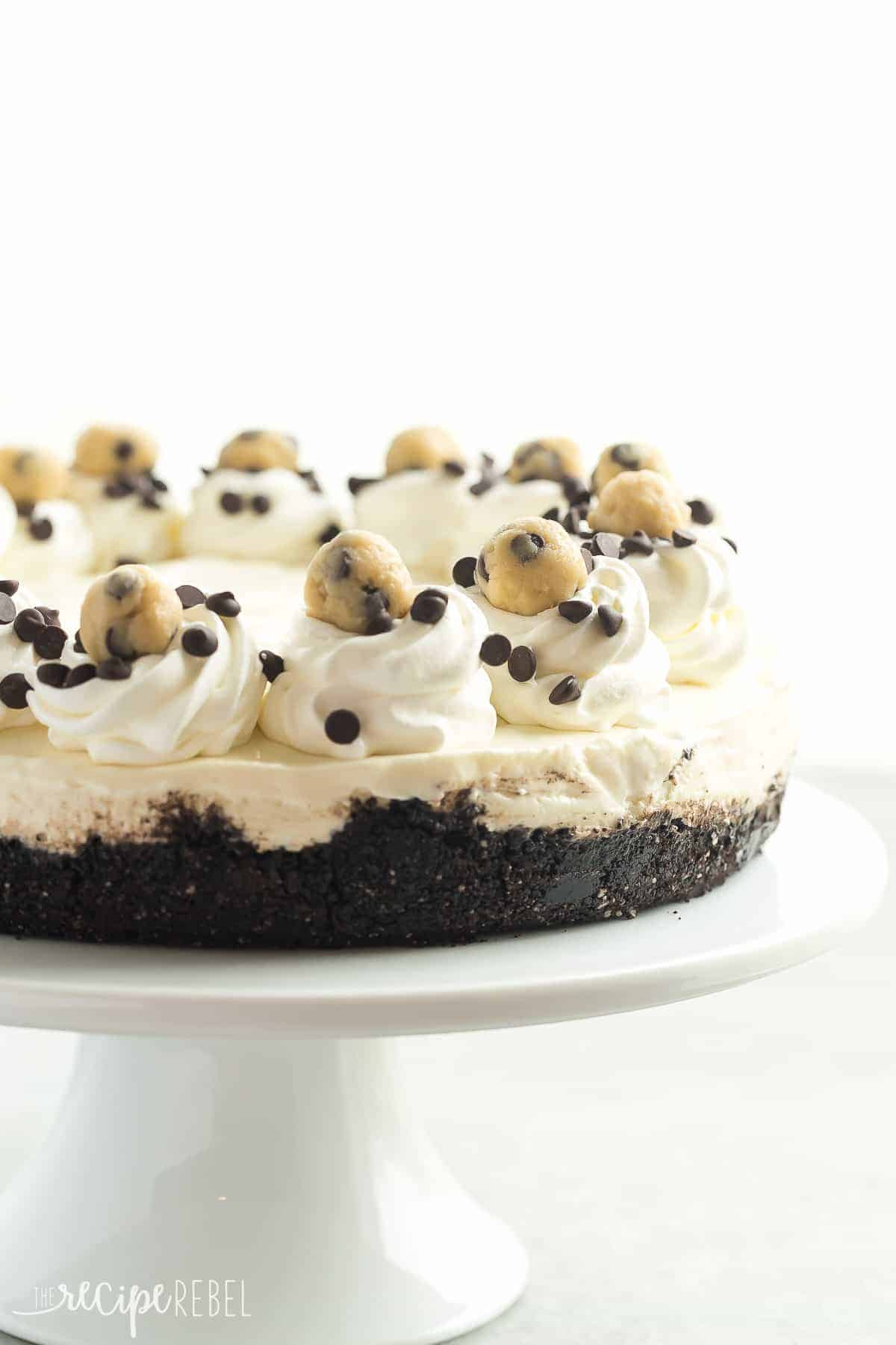 Everyone loved this NO BAKE Cookie Dough Cheesecake -- it's made with edible cookie dough and an Oreo crust and is an extra special dessert for the holidays!